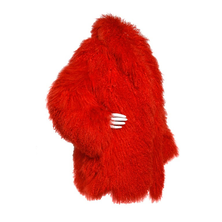 Vintage Shaggy Red Dyed Tibetan/ Mongolian Lamb Fur Coat Jacket For Sale