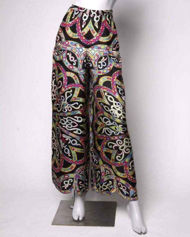 Vintage 1960's Emilio Pucci Signed Print Silk Palazzo Pants image 2