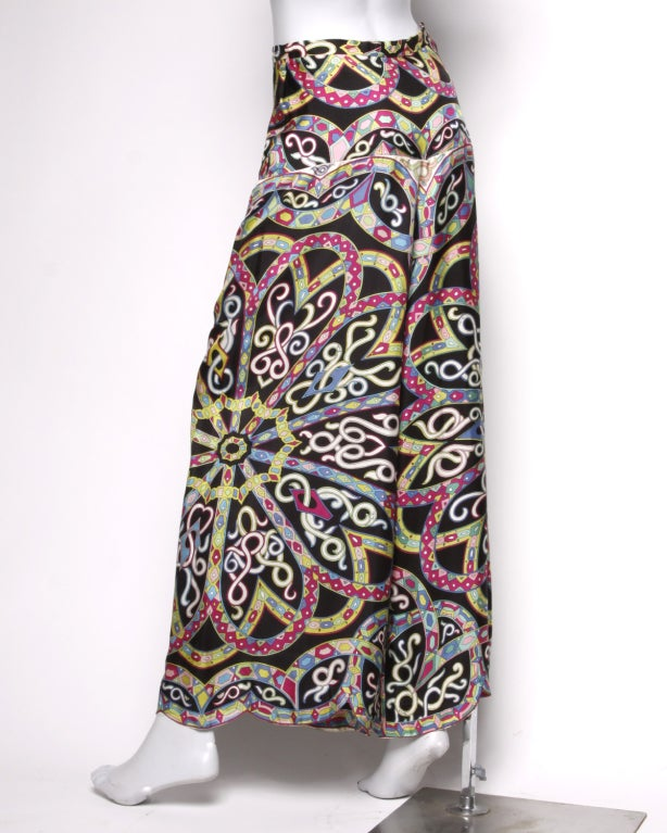 Vintage 1960's Emilio Pucci Signed Print Silk Palazzo Pants image 4