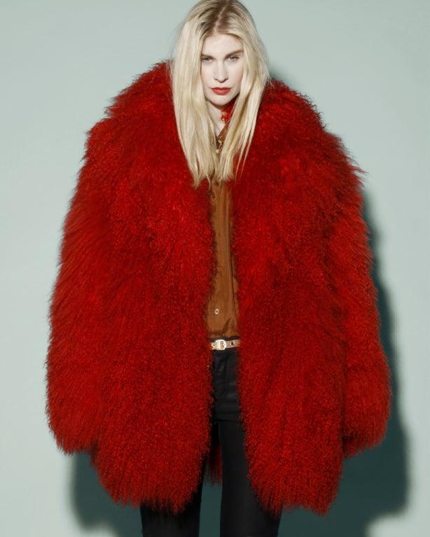 Vintage Shaggy Red Dyed Tibetan/ Mongolian Lamb Fur Coat Jacket For Sale 2