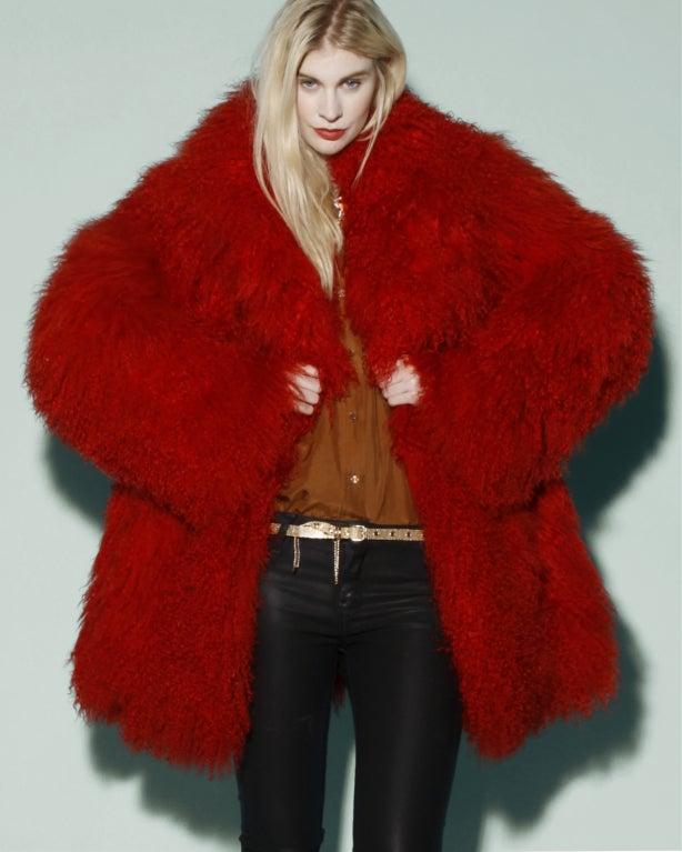 Vintage Shaggy Red Dyed Tibetan/ Mongolian Lamb Fur Coat Jacket For Sale 3
