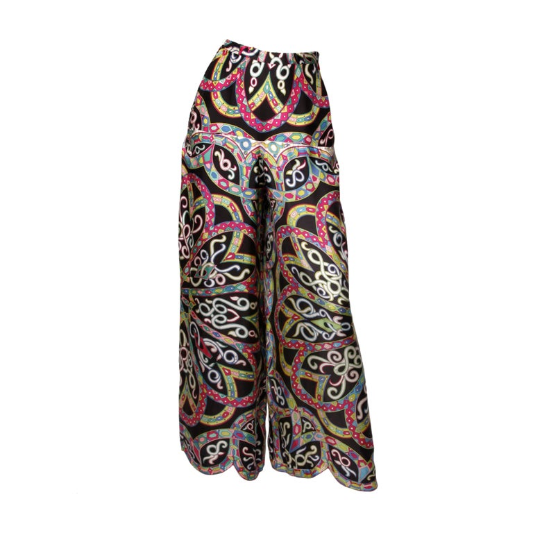 Vintage 1960's Emilio Pucci Signed Print Silk Palazzo Pants