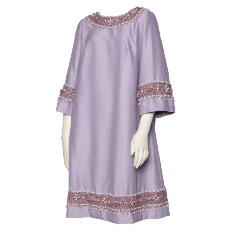 Vintage 1960's Heavy Glass Beaded Lavender Silk Dress At