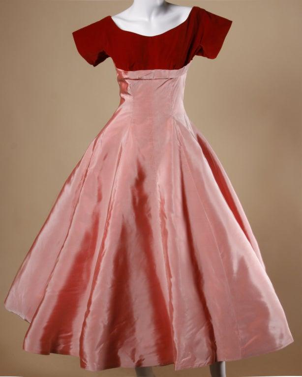 Vintage 1950's Two Tone Silk + Velvet Party Dress 2