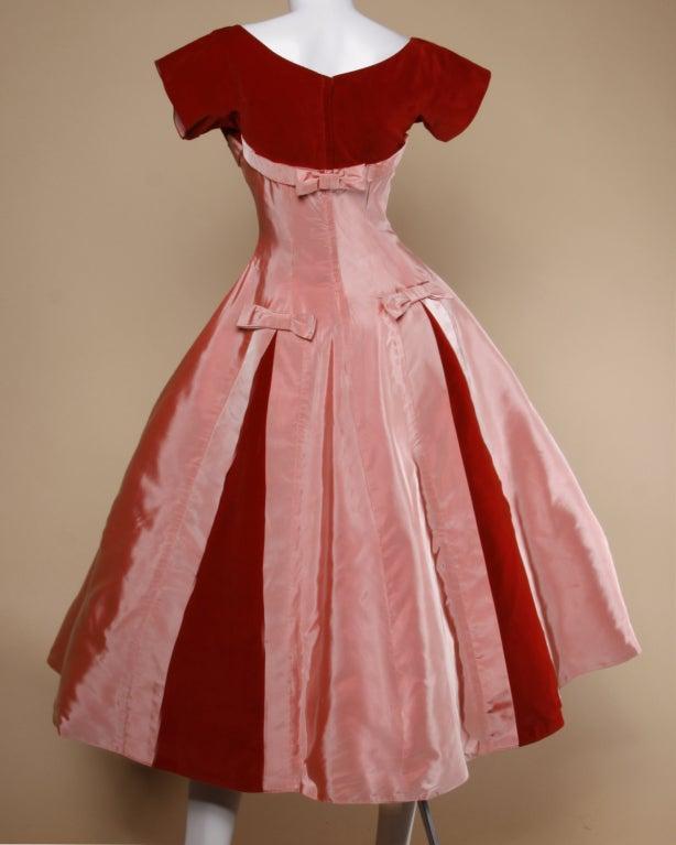 Vintage 1950's Two Tone Silk + Velvet Party Dress 3