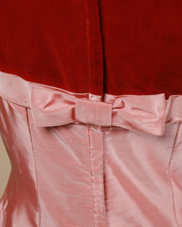 Vintage 1950's Two Tone Silk + Velvet Party Dress 7