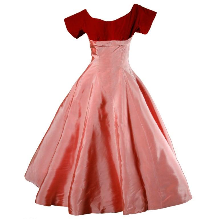 Vintage 1950's Two Tone Silk + Velvet Party Dress 1