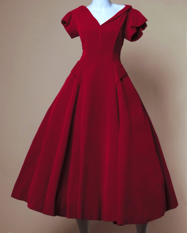 Vintage Valentine 1950's Red Velvet Full Sweep Party Dress image 2