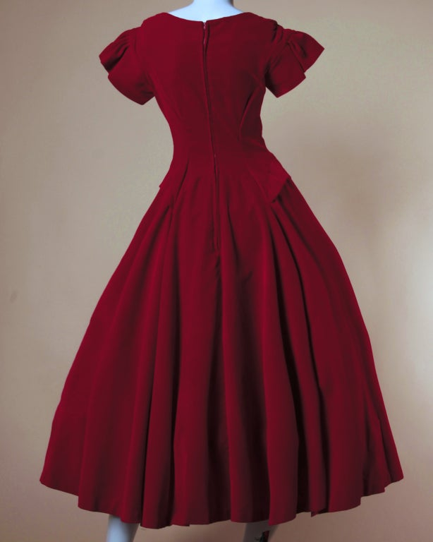 Vintage Valentine 1950's Red Velvet Full Sweep Party Dress image 3