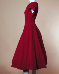 Vintage Valentine 1950's Red Velvet Full Sweep Party Dress thumbnail 4