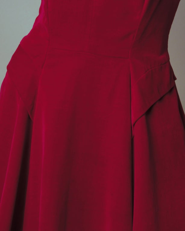 Vintage Valentine 1950's Red Velvet Full Sweep Party Dress image 8