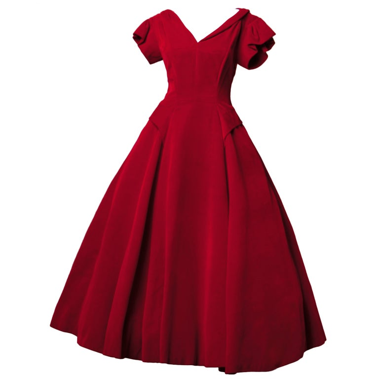 Vintage Valentine 1950's Red Velvet Full Sweep Party Dress