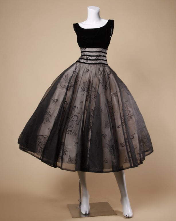 Women's Vintage 1950's Black Organza Burn Out Velvet Party Dress For Sale