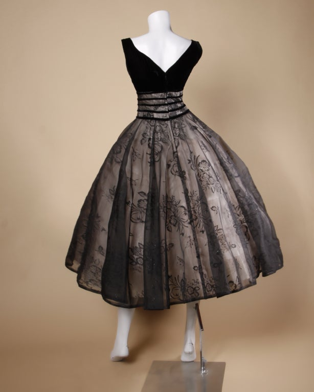 Vintage 1950's Black Organza Burn Out Velvet Party Dress For Sale 3