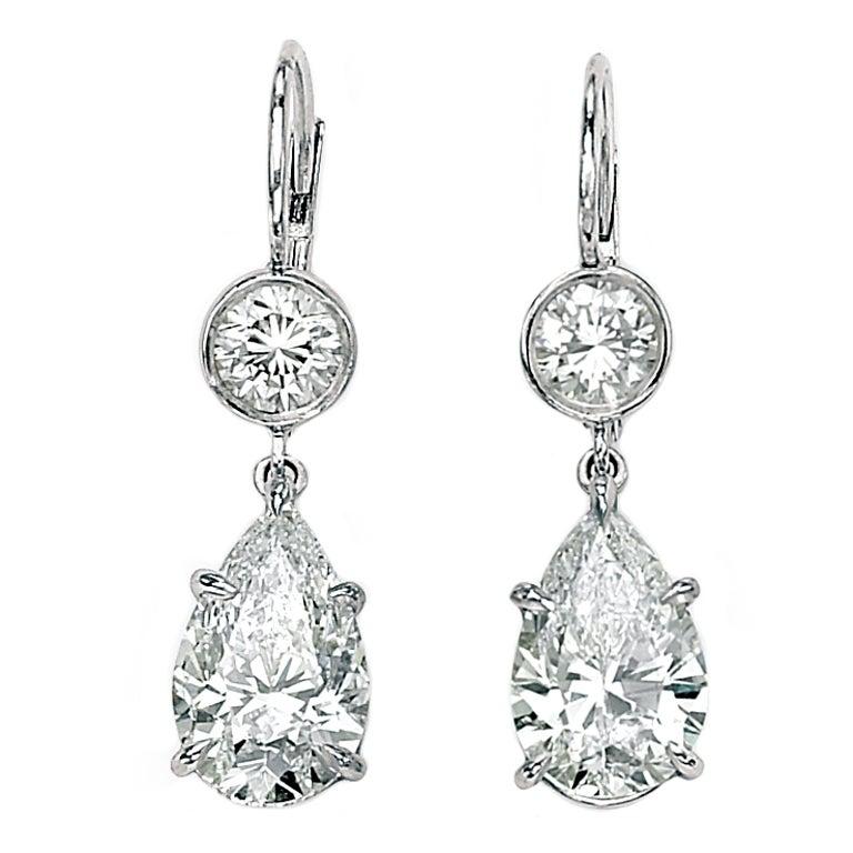 Simple Elegance Diamond Pear Shape Drop Earrings at 1stdibs