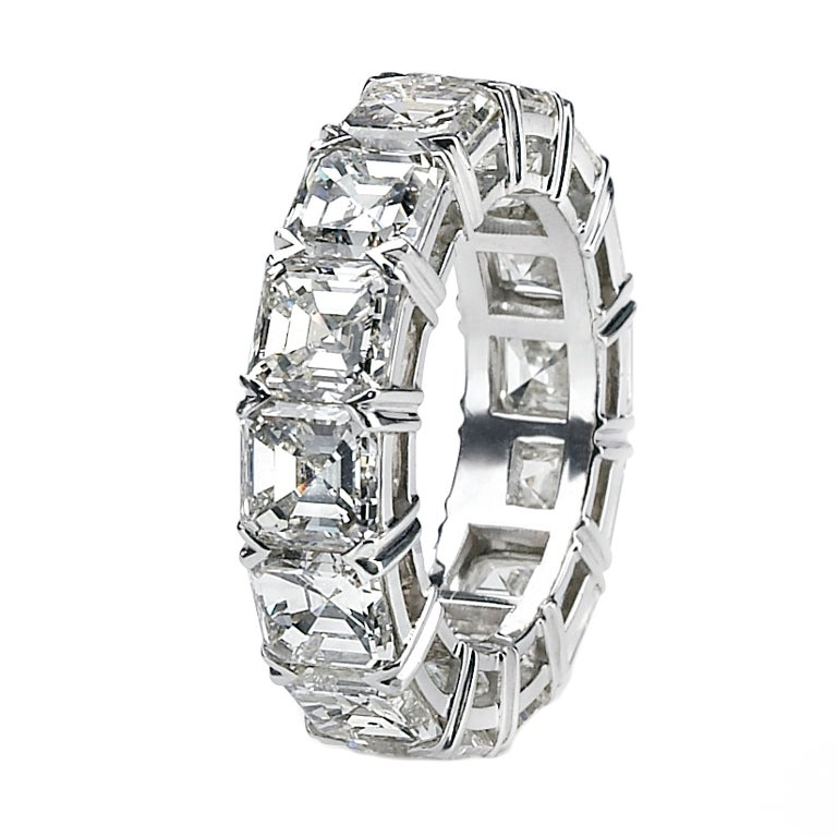 Asscher Cut Diamond Eternity Band For Sale at 1stdibs