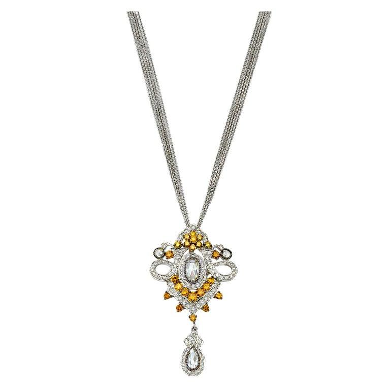 David Rosenberg 4.49 Carat Antique Fancy Vivid Yellow Diamond Pendant Necklace