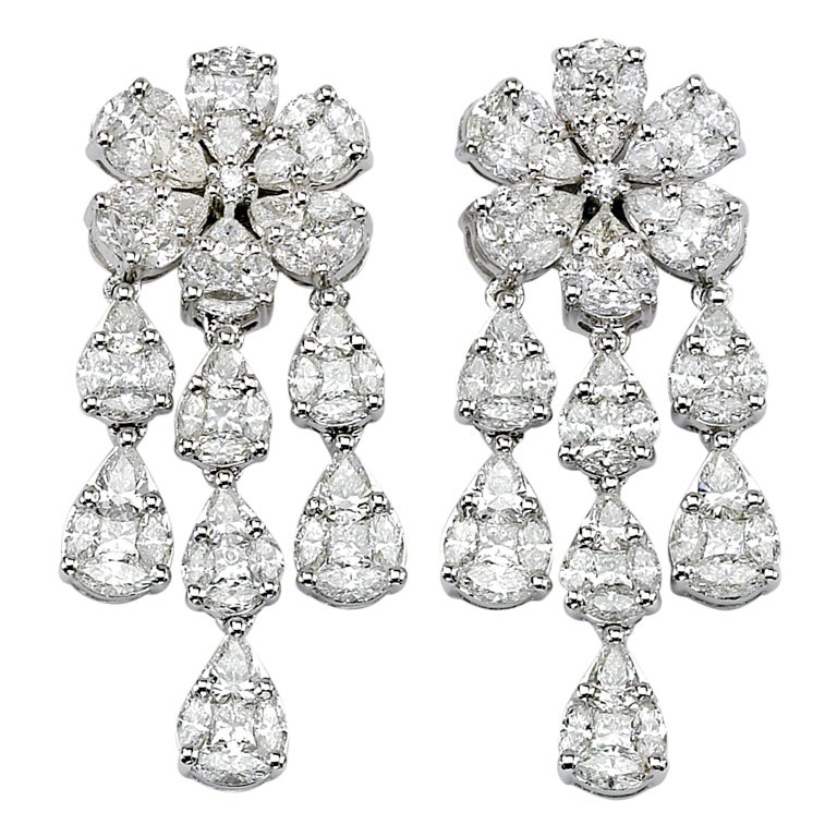 Gorgeous Illusion Set Chandelier Earrings For Sale at 1stdibs