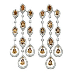David Rosenberg 5.81 Carat Fancy Deep Yellow Orange Marquise Diamond Earrings