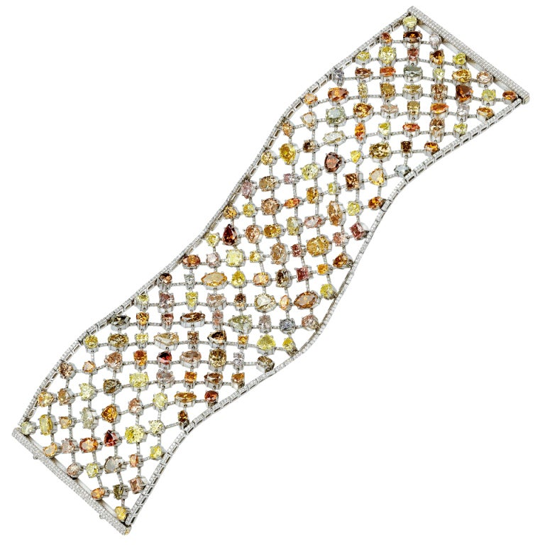 David Rosenberg Natural Fancy Color Platinum Multi Shape Diamond Bracelet