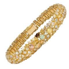 David Rosenberg 18kt Yellow Gold Multi Shape Multi Color Diamond Cuff Bracelet
