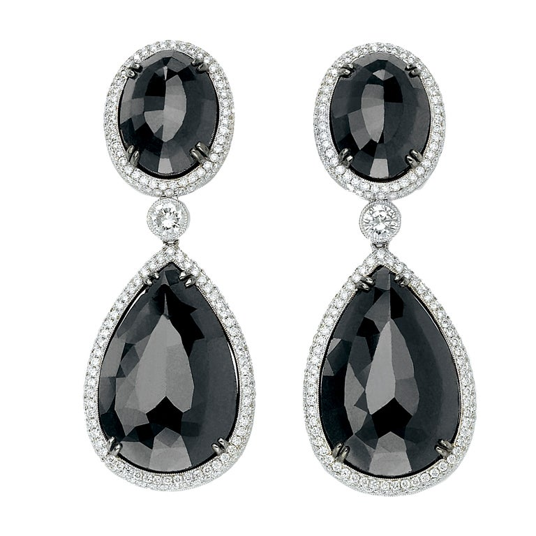David Rosenberg Stunning Black Diamond Drop Earrings 1
