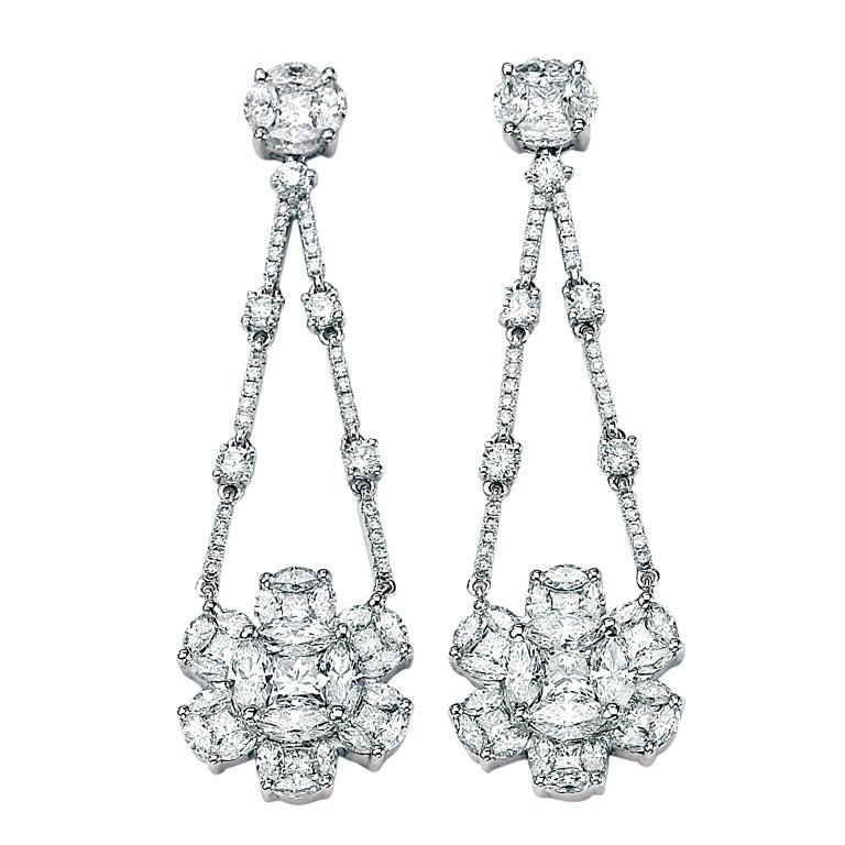 Celebrity Style Fabulous Diamond Chandelier Earrings For Sale at ...