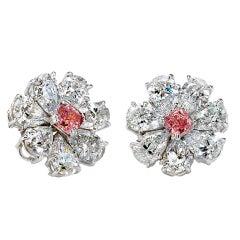David Rosenberg 8.21 Fancy Purplish Pink Radiant Pear GIA Flower Diamond Earring