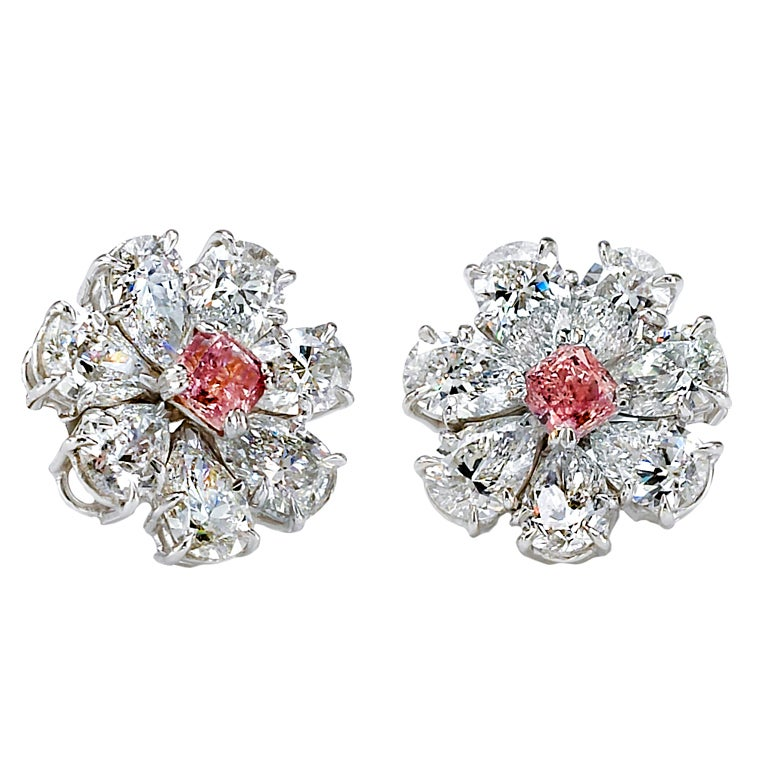 Stunning Pair of White and Pink GIA Certified Diamond Earrings