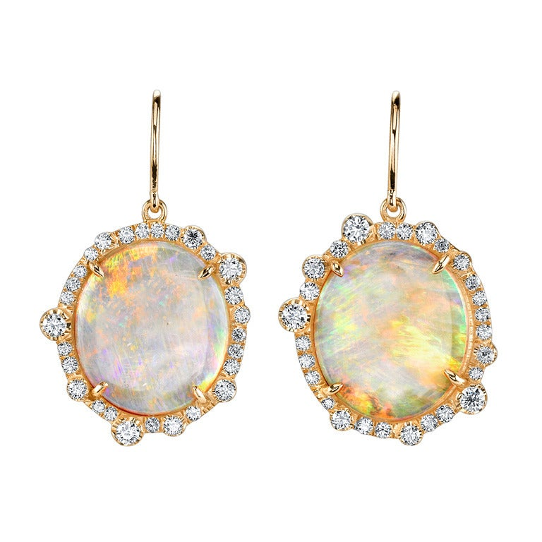 Opal And Diamond Earrings In Rose Gold At 1stdibs