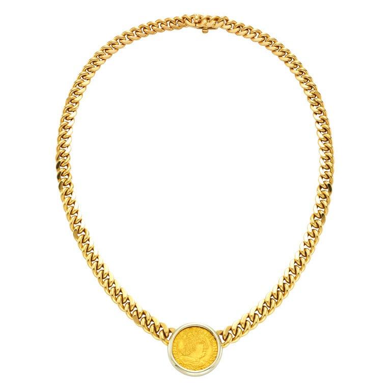 bulgari gold coin necklace
