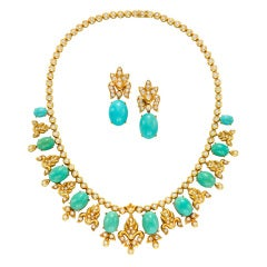 VAN CLEEF & ARPELS Turquoise Fringe Necklace & Earrings