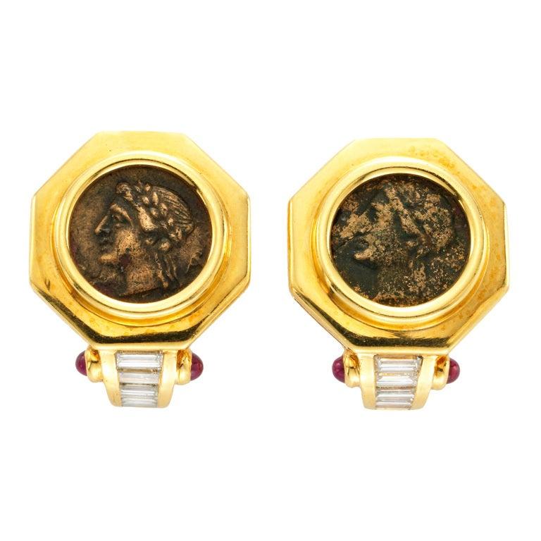 bulgari gold coin earrings at 1stdibs