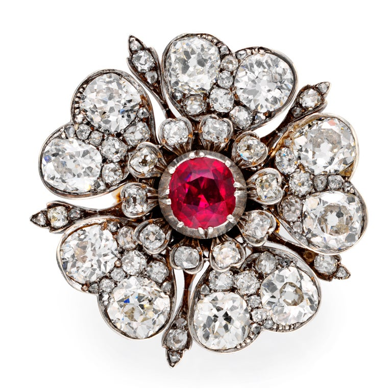 A Victorian Ruby And Diamond Tudor Rose Ring At 1stdibs
