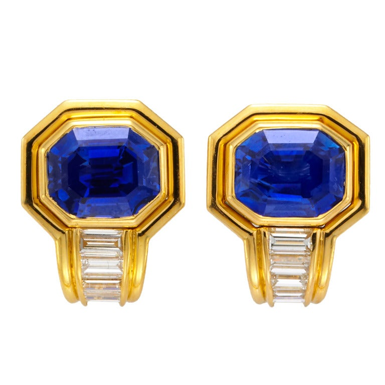 Bulgari Sapphire And Diamond Earrings At 1stdibs