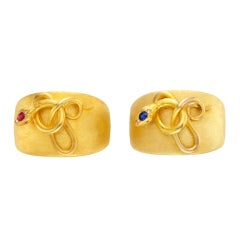 Pair Of Ruby, Sapphire And Gold Snake Cuffs