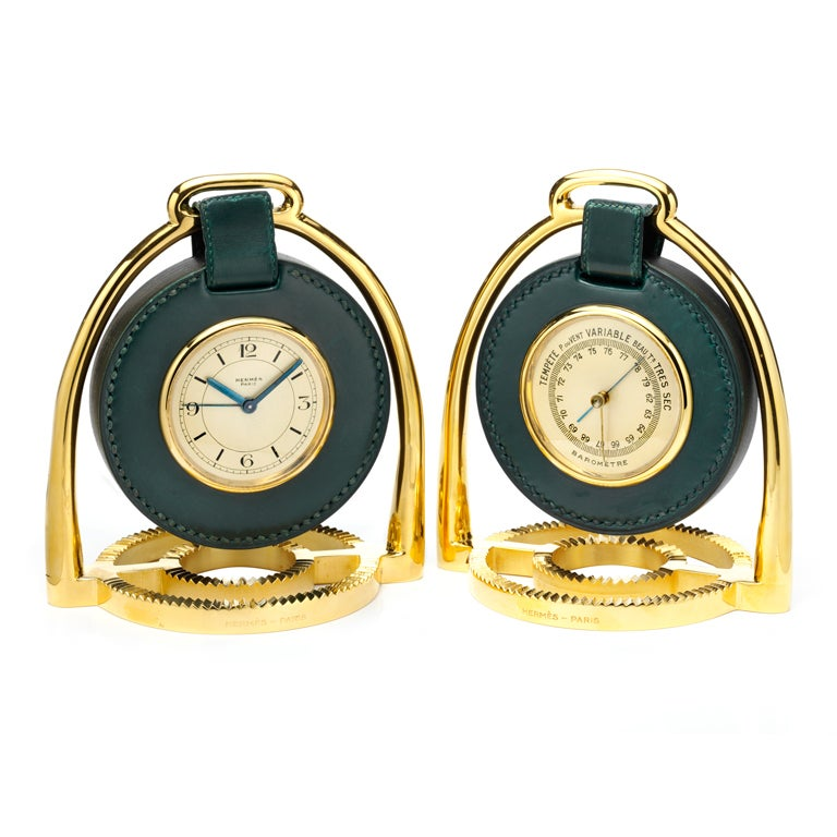 Hermes clock and barometer in stirrups