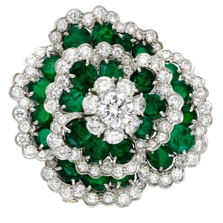 VAN CLEEF & ARPELS NEW YORK Emerald and Diamond Brooch