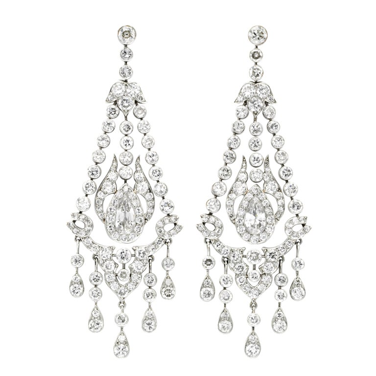 Art Deco Chandelier Diamond Earrings