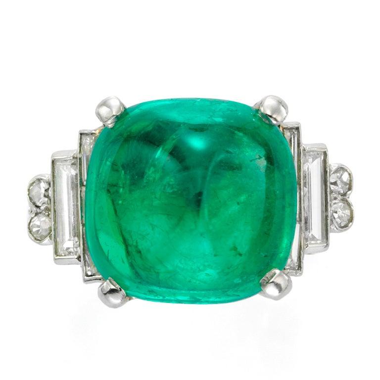 cabochon emerald and ring at 1stdibs