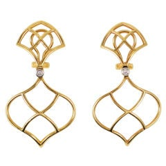 Diamond Open Woven Drop Earrings