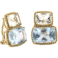 18kt Yellow Gold Two Stone Clip Earring with Rope Twist Border - medium size