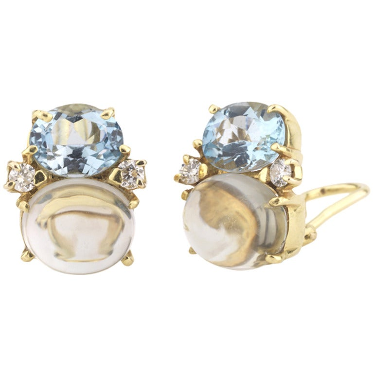 Medium GUM DROP™ Earrings with Pale Blue Topaz and Cabochon Topaz and Diamonds