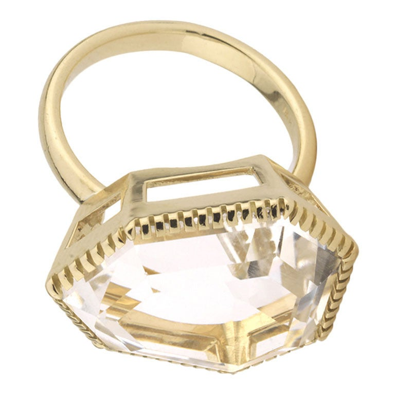 18kt Yellow Gold Byzantine Ring with Rock Crystal