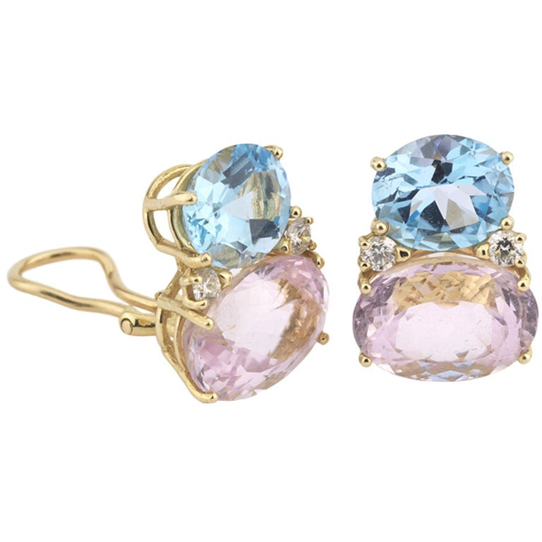 Large GUM DROP™ Earrings with Kunzite and Pale Blue Topaz and Diamonds