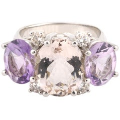 Medium GUM DROP™ Ring with Pink Topaz and Amethyst and Diamonds