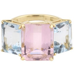 18kt Yellow Gold Emerald Cut Ring with Pink Topaz and Blue Topaz