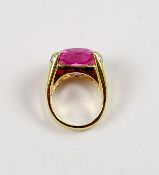 Faceted Cushion Cut Pink Topaz Dome Ring with Diamonds 2