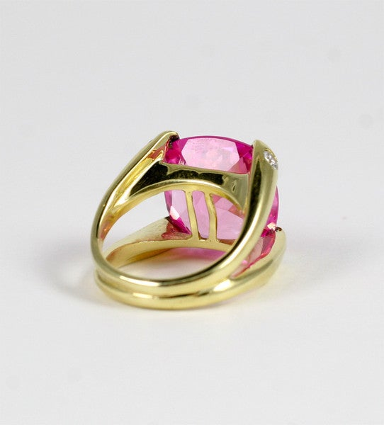 Faceted Cushion Cut Pink Topaz Dome Ring with Diamonds 3