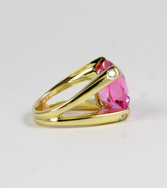 Faceted Cushion Cut Pink Topaz Dome Ring with Diamonds 4